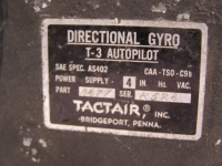 Tactair Directional Gyro T-3 Autopilot